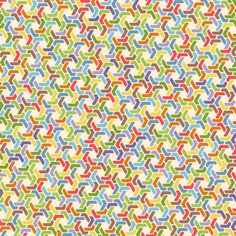 Pełnokolorowy sześciokątny wzór retro