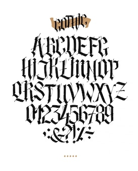 Pełny alfabet w stylu gotyckim.