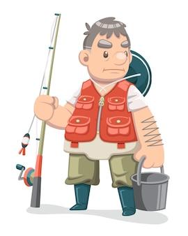 Pełny kostium stary rybak ilustracja kreskówka