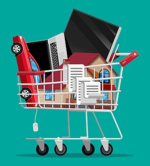 Pełny koszyk supermarketu na białym tle na zielonym tle. metalowy wózek sklepowy na kółkach z zabudową domu, samochodem, laptopem, telewizorem i kwitem. ilustracja wektorowa w stylu płaski