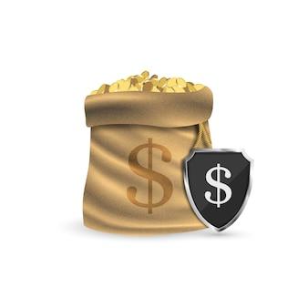 Pełny worek ze złotymi monetami. chroniąc twoje pieniądze.