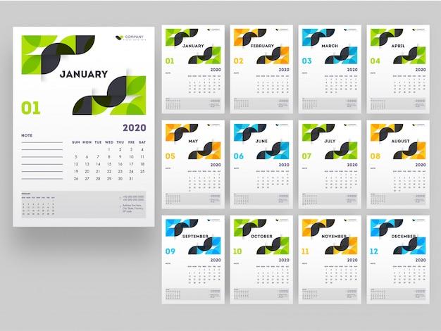 Pełny zestaw 12 miesięcy na 2020 rok kalendarzowy z elementami abstrakcyjnymi.