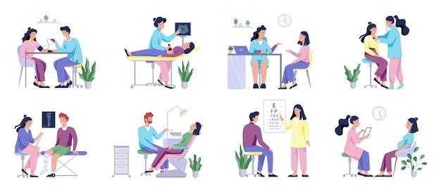 Pełny zestaw badań lekarskich z pacjentem i lekarzami. idea opieki zdrowotnej. okulista i dentysta, chirurg i usg. ilustracja