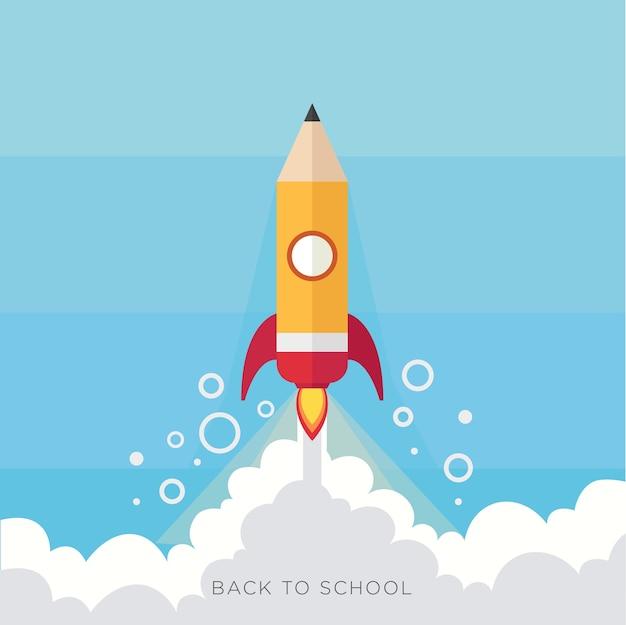 Pencil rocket back to school