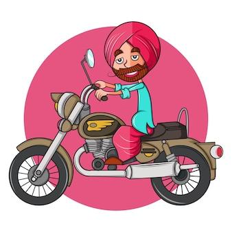 Pendżabski mężczyzna na rowerze po kuli.