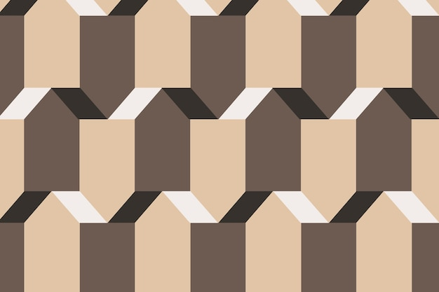 Pentagon 3d geometryczny wzór wektor brązowe tło w prostym stylu