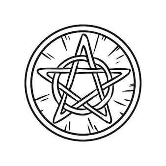 Pentagram okultystyczny znak w kole. drewniany pentagram ręcznie rysowane magiczne doodle. obraz na białym tle wektor pogańskich wiccan.