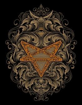 Pentagram z ornamentem vintage grawerowania