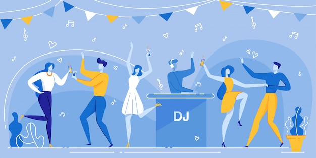 People dance dancefloor dj mixing music nightclub