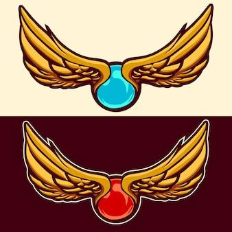 Perełkowy klejnot z złotymi skrzydłami ilustracyjnymi