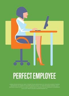 Perfect pracownik ilustracja z biznesową kobietą