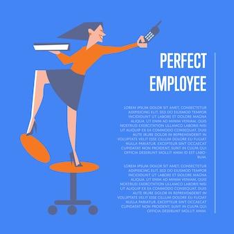 Perfect pracownika szablonu ilustracja z biznesową kobietą