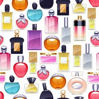 Perfumy butelki ikony bezszwowy wzór.