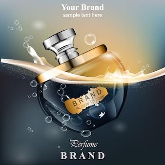 Perfumy butelki wody pęcherzyków tło. realistyczny wektor produkt złoty wzór opakowania mo