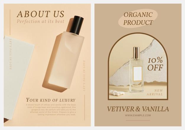 Perfumy plakat szablon wektor zestaw
