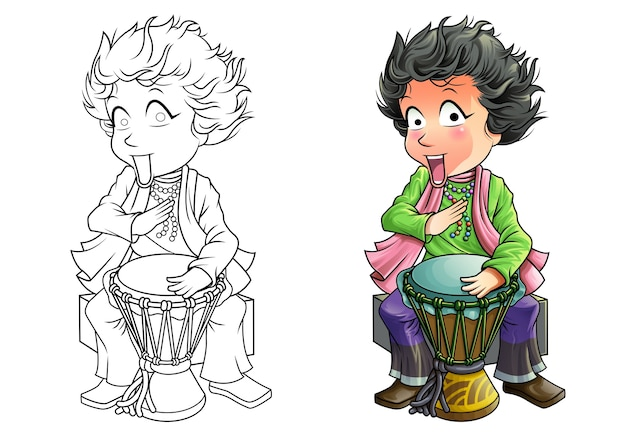 Perkusista kreskówka kolorowanki dla dzieci