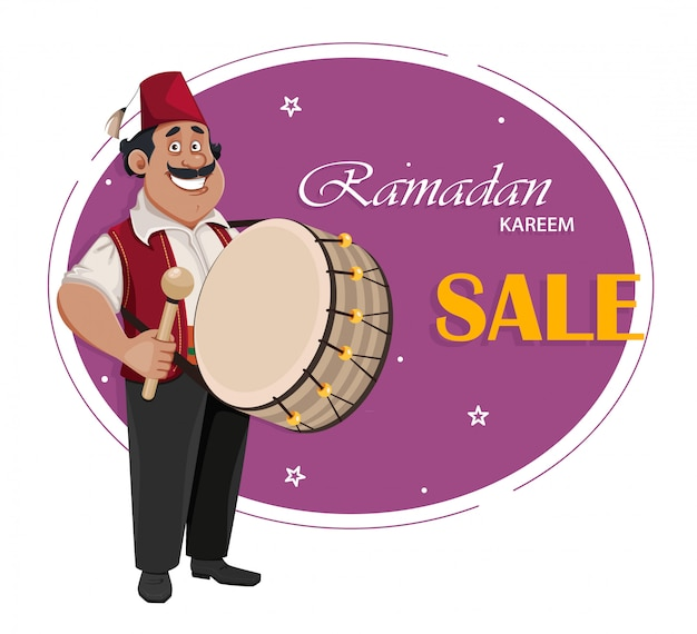 Perkusista ramadan. wesoły postać z kreskówki