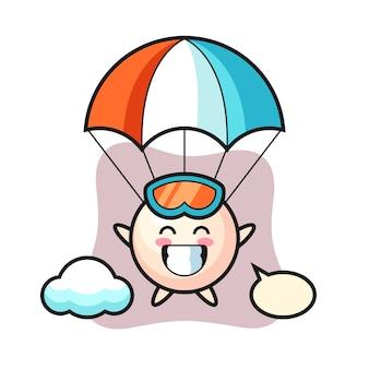 Perła kreskówka maskotka skacze ze spadochronem z radosnym gestem