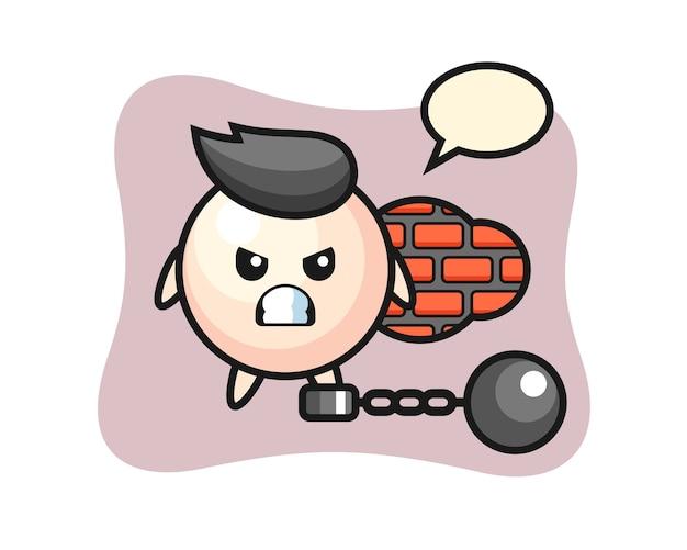 Perłowa maskotka postaci jako więzień