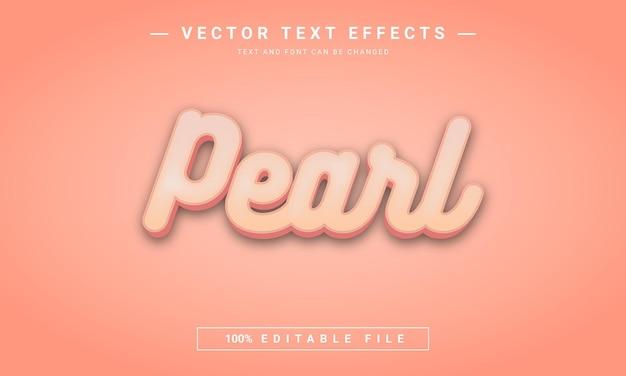 Perłowy koral edytowalny efekt tekstowy 3d
