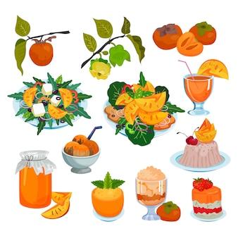 Persimmon świeże owocowe jedzenie sałatka deser lody tłokowe i słodkie owoce ilustracji drzewa persimmon zestaw wegetariańskie odżywianie dieta świeży sok na białym tle