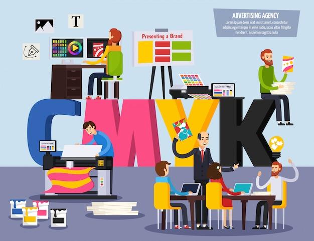Personel agencji reklamowej obsługuje płaski ortogonalny kolorowy skład z projektantami reklam, projektów, prezentacji i drukowania ilustracji