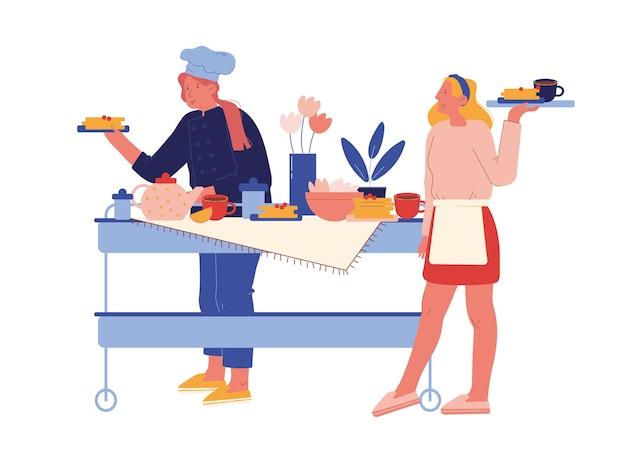 Personel hotelu serwuje śniadanie. postacie kobiece w mundurze stoją przy stole z różnymi posiłkami dla gości. hospitality restaurant service, touristic business concept. ludzie z kreskówek