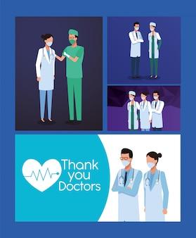 Personel lekarzy ze sprzętem laboratoryjnym