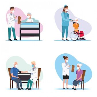 Personel medyczny chroniący starsze postacie