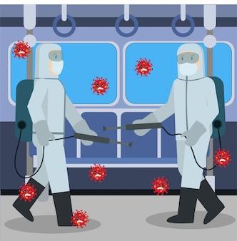 Personel medyczny dokonuje sterylizacji w autobusie