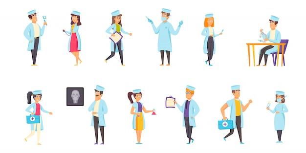 Personel medyczny ludzi znaków płaski zestaw