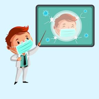 Personel medyczny udziela wyjaśnień na temat ilustracji wirusów i zarazków
