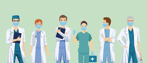 Personel medyczny w ochronnych maskach na twarz. zestaw znaków lekarzy w respiratorach.