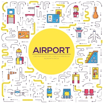 Personel pracujący i rejestrujący osoby i bagaż w projekcie lotniska