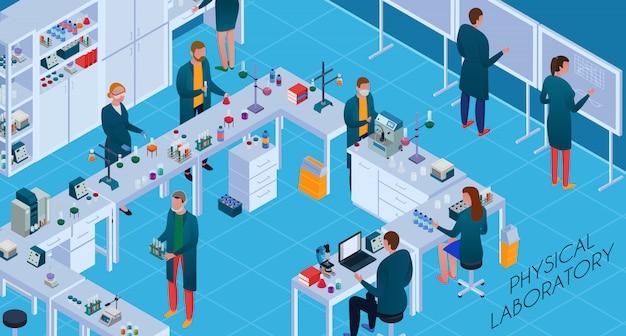 Personel pracujący ze sprzętem chemicznym i fizycznym podczas badań w izometrycznym laboratorium naukowym poziomym