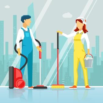 Personel sprzątający ze sprzętem do czyszczenia. zawód pracowników, kobieta i mężczyzna do czyszczenia okien, ilustracja