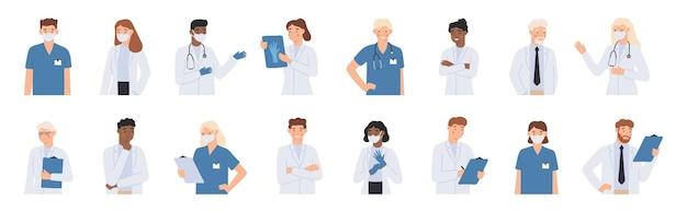 Personel szpitala. lekarze w portrecie białych fartuchów, pielęgniarka w masce i student medycyny. lekarz z ilustracji stetoskop.
