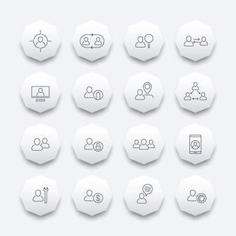Personel, zasoby ludzkie, hr, zespół, pracownik, zestaw ikon ośmiokąta linii, ilustracji wektorowych