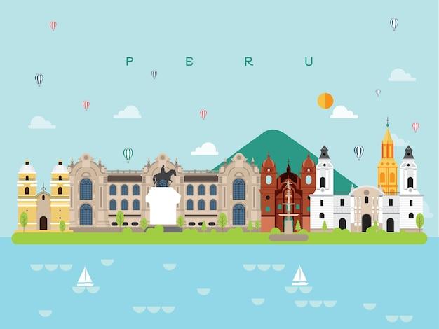 Peru słynne zabytki infographic