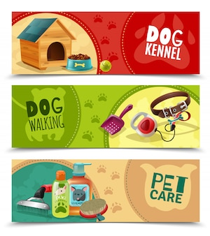 Pet care 3 zestaw poziome banery