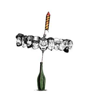 Petardy rakietowe w doniczce z ravana dziesięć głów szczęśliwy tło wektor dasera.
