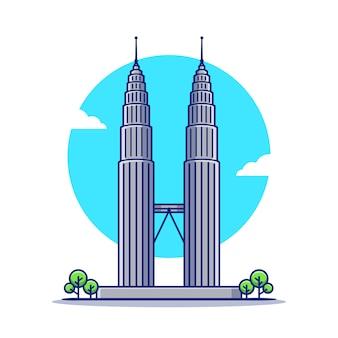 Petronas twin tower kreskówka ikona ilustracja. słynny budynek podróży ikona koncepcja na białym tle. płaski styl kreskówki