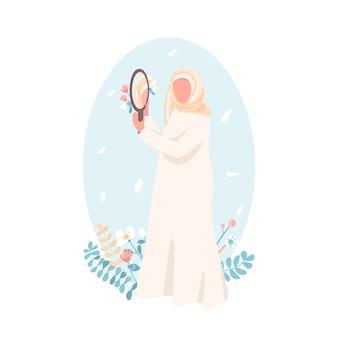 Pewna siebie muzułmańska dziewczyna bez twarzy w płaskim kolorze. wzmocnienie pozycji kobiet. akceptacja siebie dla kobiety. samo miłość ilustracja kreskówka na białym tle