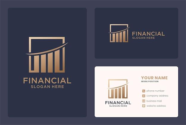Pewnie plus projekt logo finansowego w złotym kolorze.