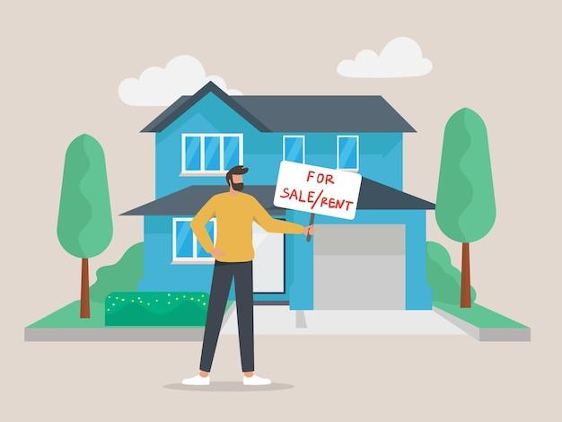 Pewny siebie agent nieruchomości oferujący dom. męski pośrednik z plakatem na sprzedaż