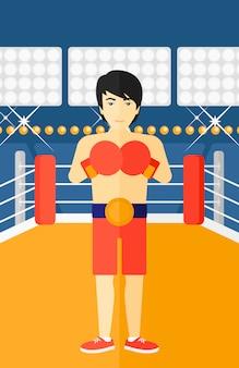 Pewny siebie bokser w rękawiczkach