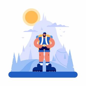 Pewny siebie turysta stojący w górzystym terenie