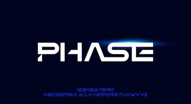 Phase, sportowy, futurystyczny krój pisma. czcionka alfabetu z motywem technologii. nowoczesna minimalistyczna typografia