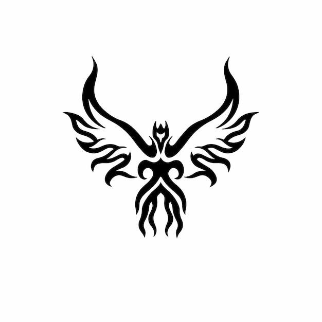Phoenix bird logo tribal tattoo design wzornik ilustracji wektorowych