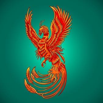 Phoenix ptak nowy rok wektor
